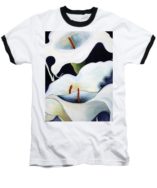 Baseball T-Shirt featuring the painting Calla Lilies.. by Jolanta Anna Karolska