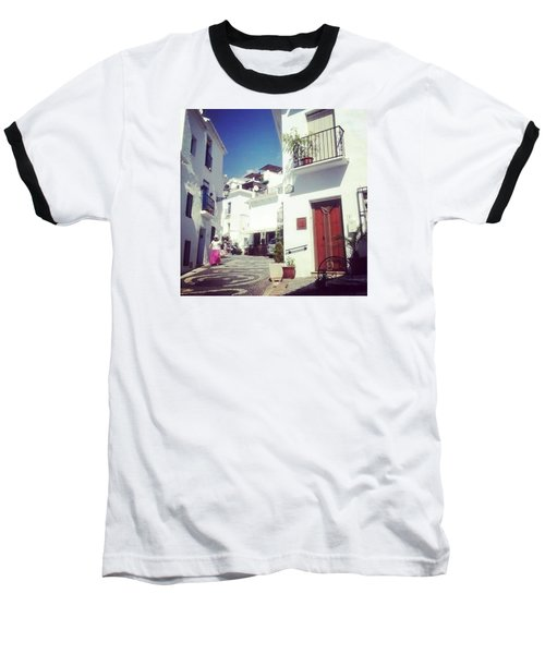 Calles De Frigiliana, Pueblo Blanco De Malaga - Spain Baseball T-Shirt