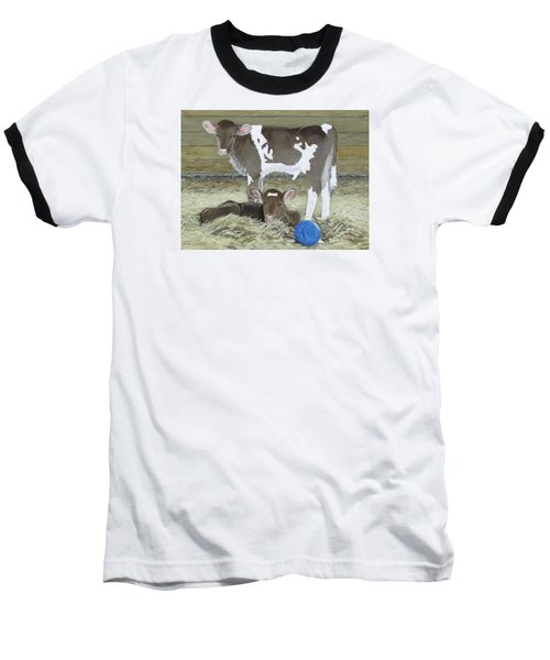 Calves Playing With A Blue Ball Baseball T-Shirt