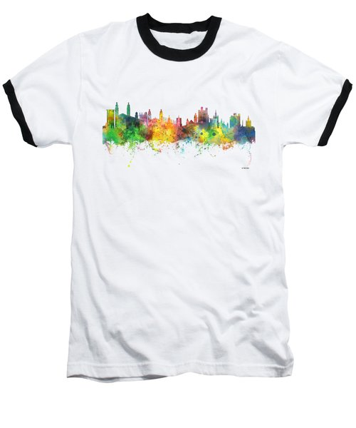Cambridge England Skyline Baseball T-Shirt by Marlene Watson