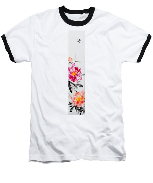 Camellia And Butterfly Baseball T-Shirt