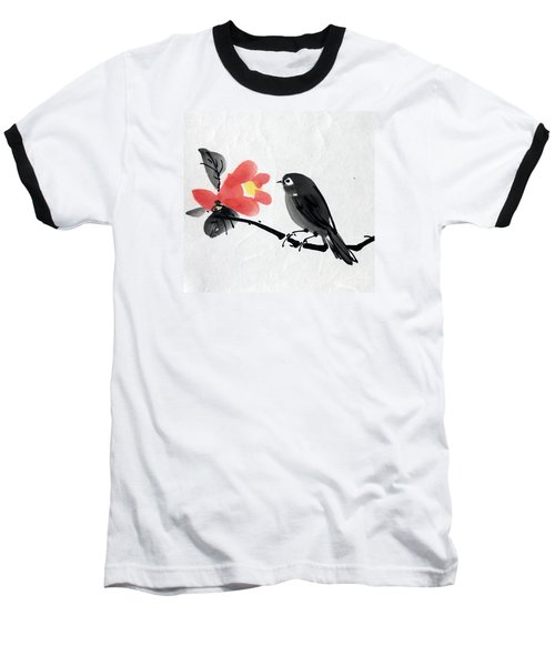 Camellia And A Little Bird Baseball T-Shirt