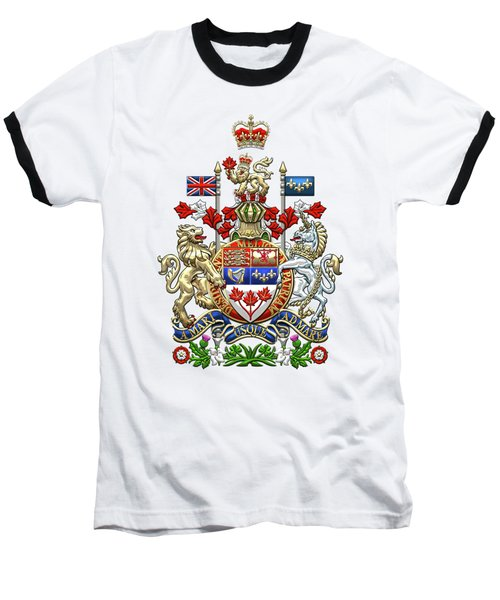 Canada Coat Of Arms Over Red Silk Baseball T-Shirt