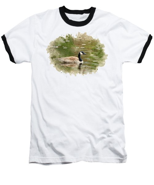 Canada Goose Watercolor Art Baseball T-Shirt