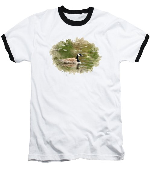 Canada Goose Watercolor Art Baseball T-Shirt