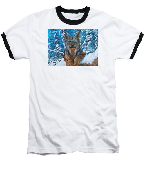 Baseball T-Shirt featuring the painting Canadian Lynx by Sharon Duguay