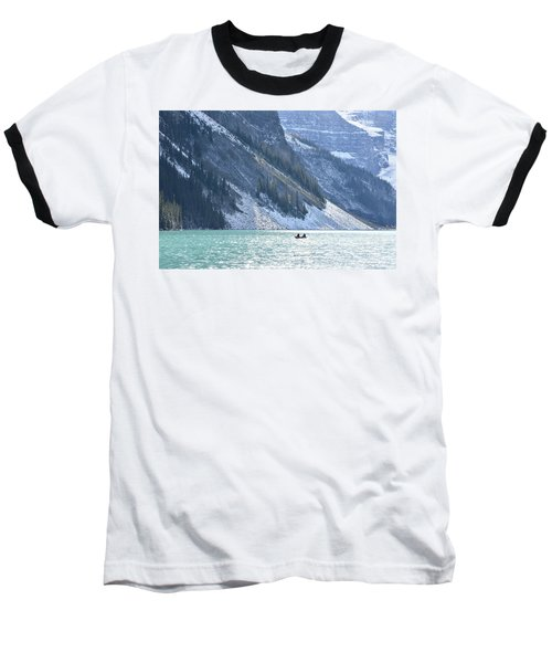 Canoeing On Lake Louise Baseball T-Shirt by Keith Boone