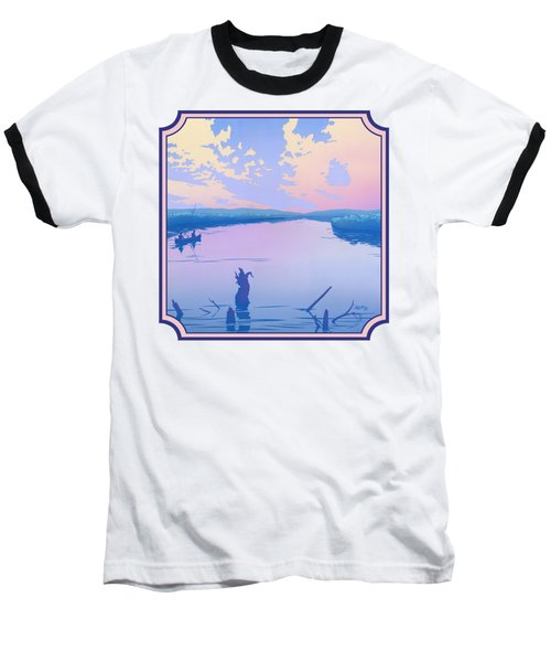 Canoeing The River Back To Camp At Sunset Landscape Abstract - Square Format Baseball T-Shirt