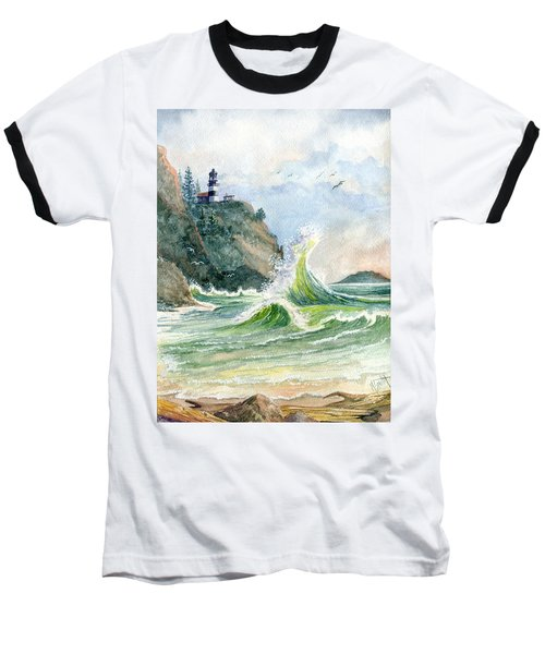 Baseball T-Shirt featuring the painting Cape Disappointment Lighthouse by Marilyn Smith