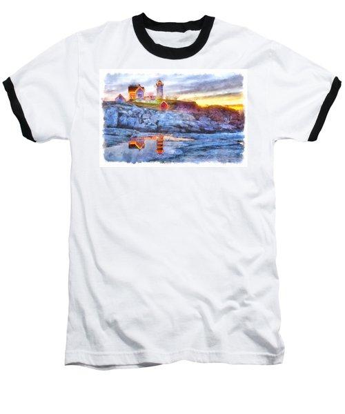 Cape Neddick Light Watercolor Baseball T-Shirt