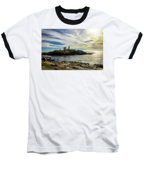 Cape Neddick Lighthouse Baseball T-Shirt by Sherman Perry