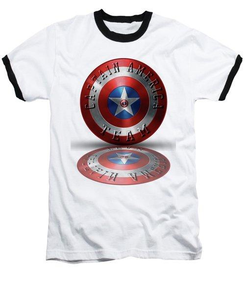 Captain America Team Typography On Captain America Shield  Baseball T-Shirt by Georgeta Blanaru
