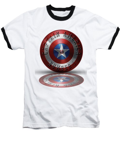 Captain America Typography On Captain America Shield  Baseball T-Shirt by Georgeta Blanaru