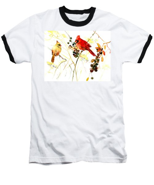 Cardinal Birds And Berries Baseball T-Shirt by Suren Nersisyan
