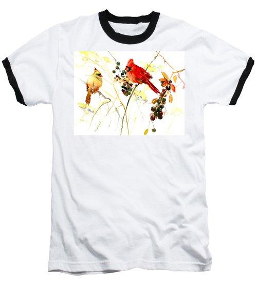 Cardinal Birds And Berries Baseball T-Shirt