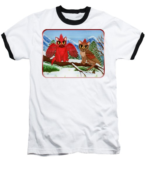 Cardinal Cats Baseball T-Shirt by Carrie Hawks