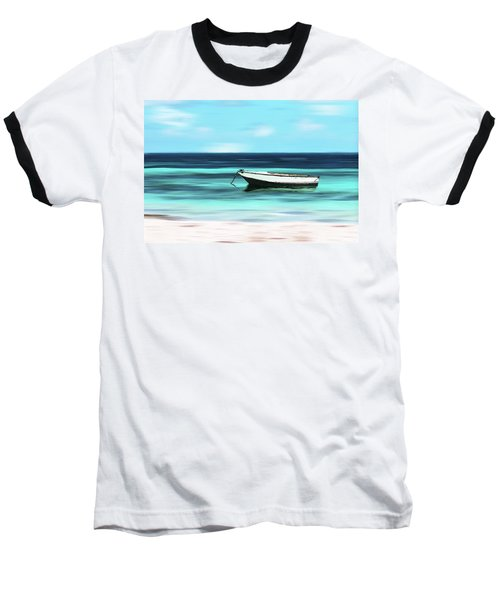 Caribbean Dream Boat Baseball T-Shirt by Deborah Smith