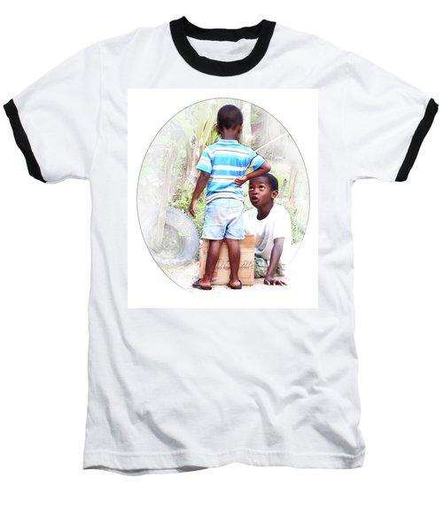 Caribbean Kids Illustration Baseball T-Shirt