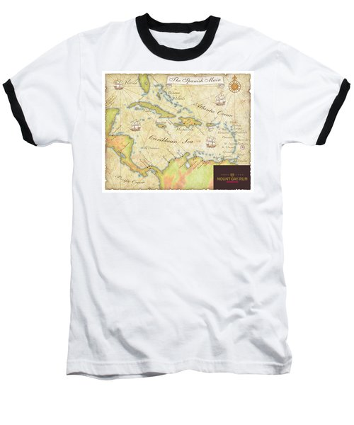 Baseball T-Shirt featuring the digital art Caribbean Map II by Unknown