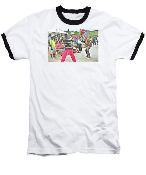 Baseball T-Shirt featuring the painting Caribbean Scenes - De Stick Fight by Wayne Pascall