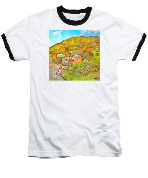 Baseball T-Shirt featuring the painting Caribbean Scenes - De Village by Wayne Pascall