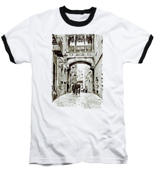 Carrer Del Bisbe - Barcelona Black And White Baseball T-Shirt by Marian Voicu