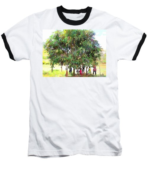 Carribean Scenes - Under De Mango Tree Baseball T-Shirt by Wayne Pascall