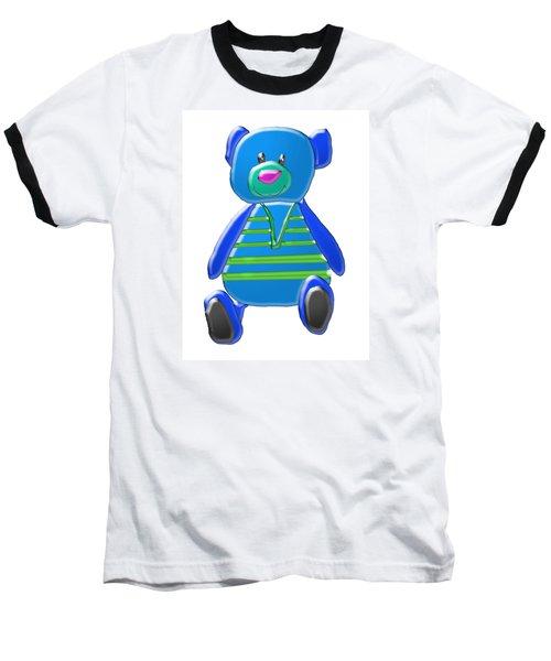 Cartoon Bear In Sweater Vest Baseball T-Shirt by Karen Nicholson