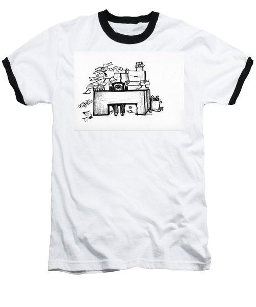 Cartoon Desk Baseball T-Shirt