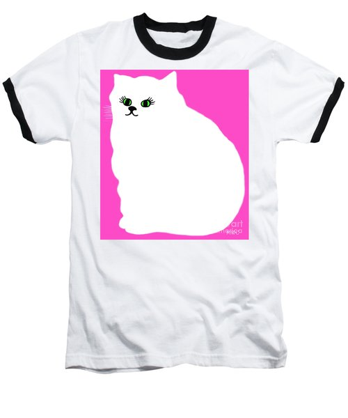 Cartoon Plump White Cat On Pink Baseball T-Shirt by Marian Cates