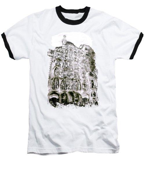 Casa Batllo Barcelona Black And White Baseball T-Shirt by Marian Voicu