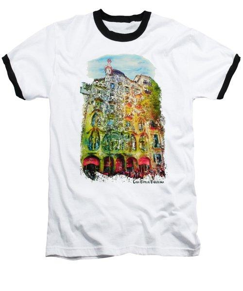 Casa Batllo Barcelona Baseball T-Shirt by Marian Voicu