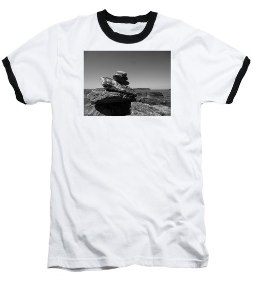 Casco Bay Cairn Bw Baseball T-Shirt by Barbara Bardzik