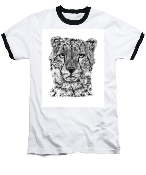 Baseball T-Shirt featuring the drawing Cassandra The Cheetah by Abbey Noelle