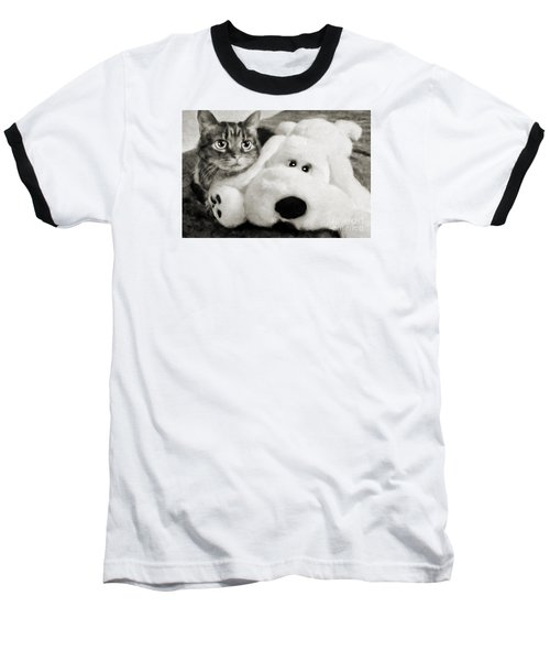 Baseball T-Shirt featuring the photograph Cat And Dog In B W by Andee Design