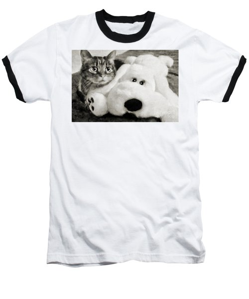 Cat And Dog In B W Baseball T-Shirt
