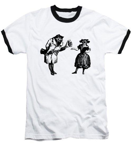 Cat And Mouse Grandville Transparent Background Baseball T-Shirt