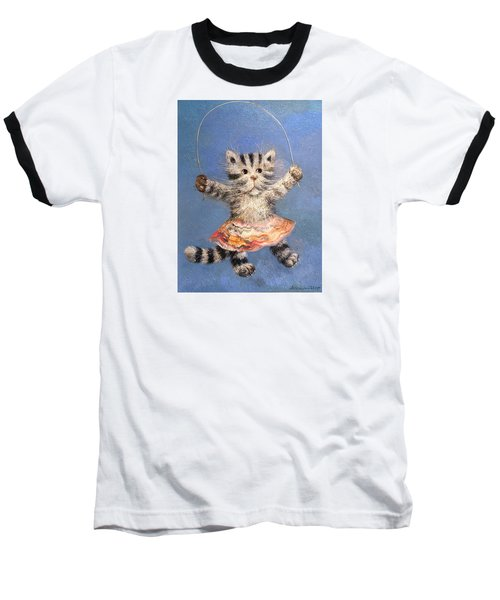 Cat And Skip Rope Baseball T-Shirt by Mikhail Savchenko