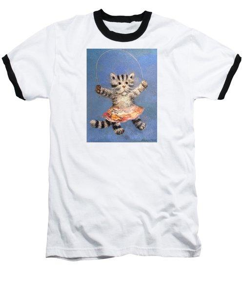 Cat And Skip Rope Baseball T-Shirt