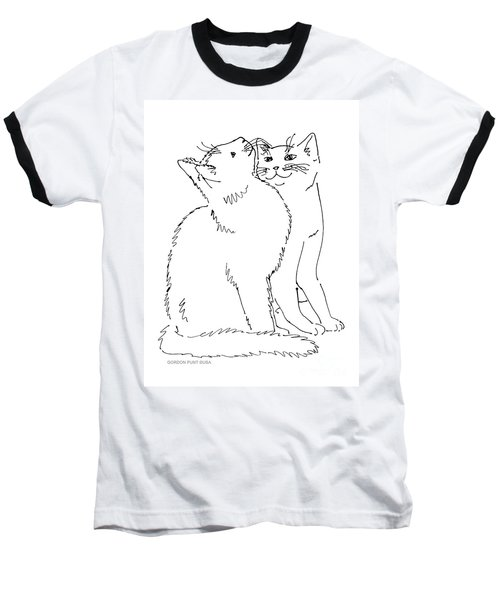 Cat-art-curious Baseball T-Shirt