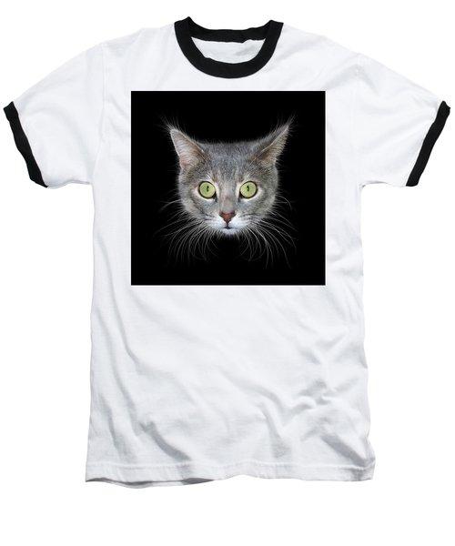 Cat Head On Black Background Baseball T-Shirt by James Larkin