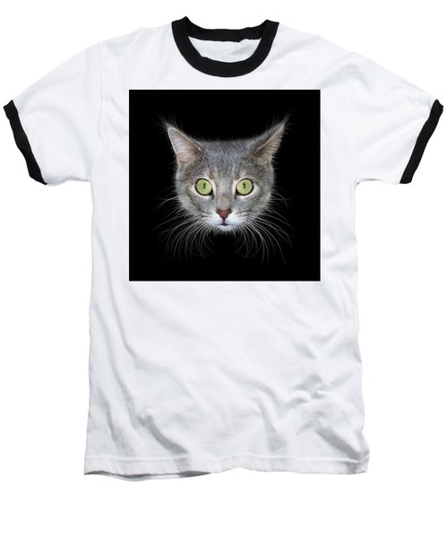 Cat Head On Black Background Baseball T-Shirt