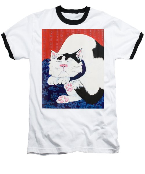Cat I - Asleep Baseball T-Shirt by Leela Payne