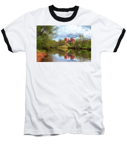 Baseball T-Shirt featuring the photograph Cathedral Rock Reflection by James Eddy