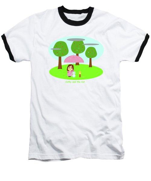 Cathy And The Cat Rainy Day Baseball T-Shirt