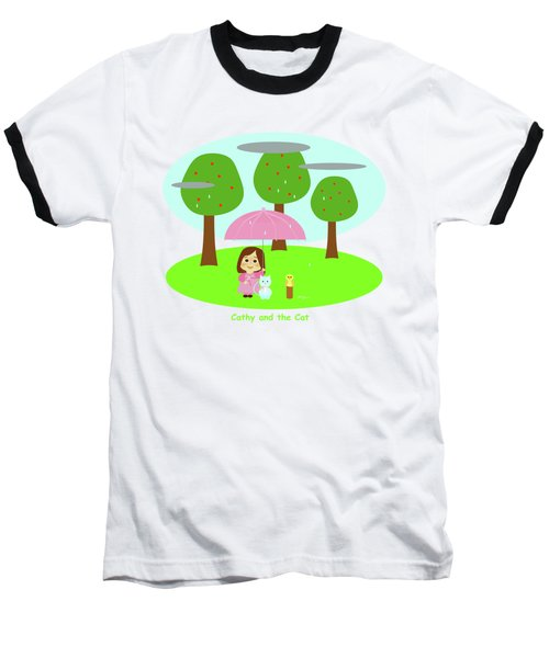 Cathy And The Cat Rainy Day Baseball T-Shirt