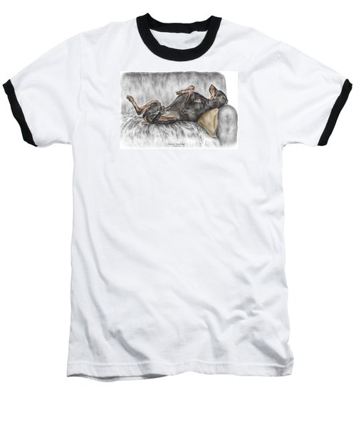 Caution Guard Dog - Doberman Pinscher Print Color Tinted Baseball T-Shirt by Kelli Swan