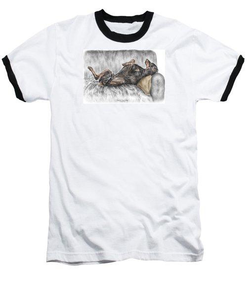 Caution Guard Dog - Doberman Pinscher Print Color Tinted Baseball T-Shirt