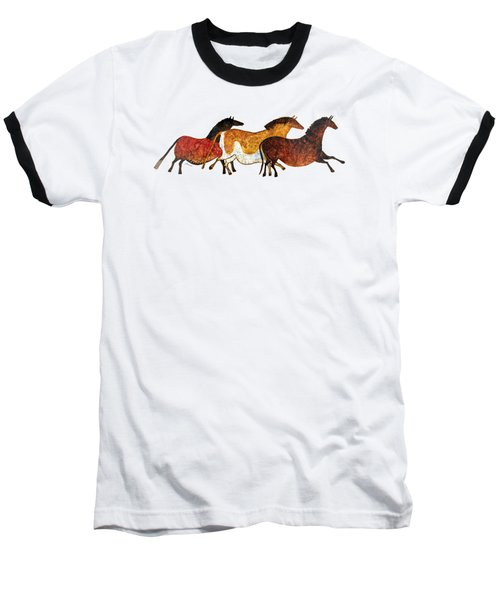 Cave Horses In Beige Baseball T-Shirt