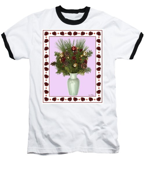 Celadon Vase With Christmas Bouquet Baseball T-Shirt by Lise Winne